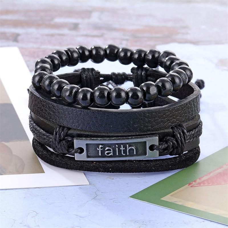 IFMIA Vintage Multilayers Beads Wrap Bracelet for Men 2019 New Trendy Charm Leather Bracelets & Bangles Set Black Party Jewelry