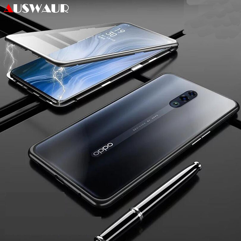 Magnetic Double Tempered <font><b>Glass</b></font> Phone <font><b>Case</b></font> Cover for <font><b>OPPO</b></font> F9 F11 Pro K1 K3 K5 <font><b>A3S</b></font> A5 A7X AX7 A9 A9X 2020 Magnetic <font><b>Glass</b></font> <font><b>Case</b></font> image