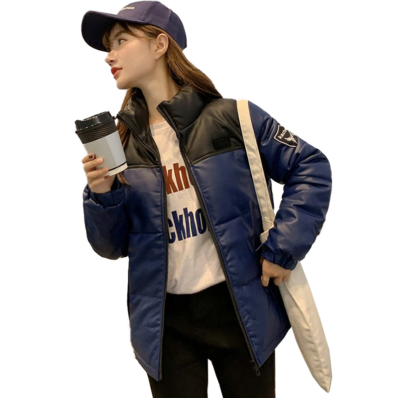 2019 Fashion down cotton jacket women PU   leather   short outerwear student parka casual top thick warm winter coats female A2991