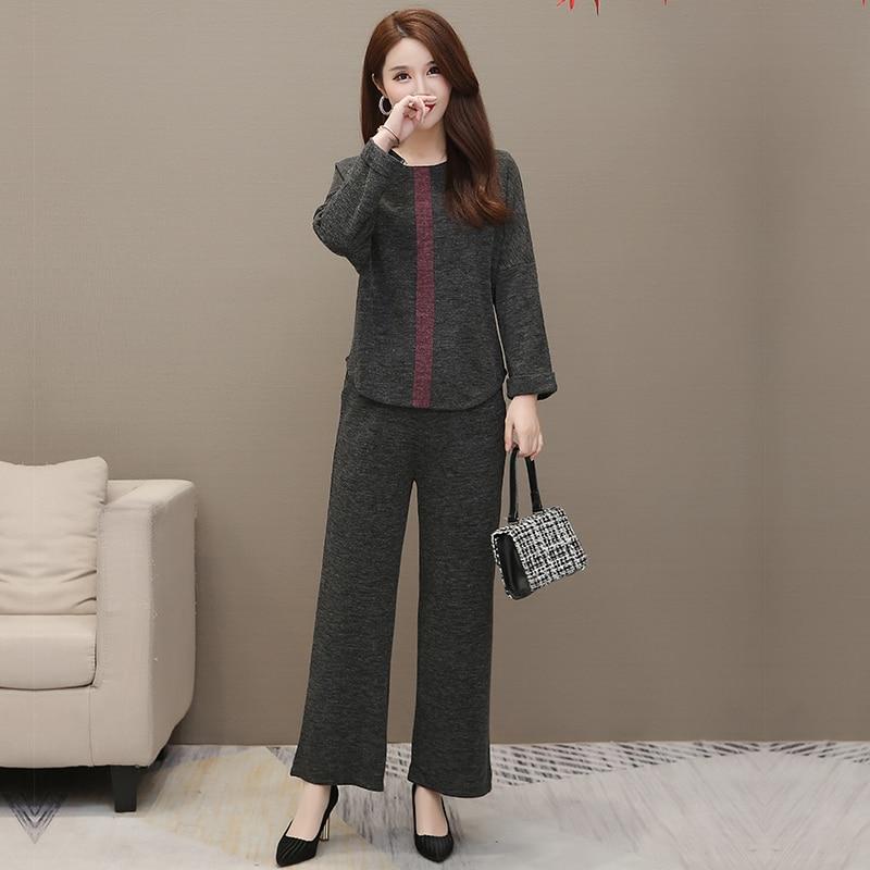 Autumn Winter Grey Two Piece Sets Outfits Women Plus Size Long Sleeve Tops And Pants Suits Elegant Fashion Korean 2 Piece Sets 30