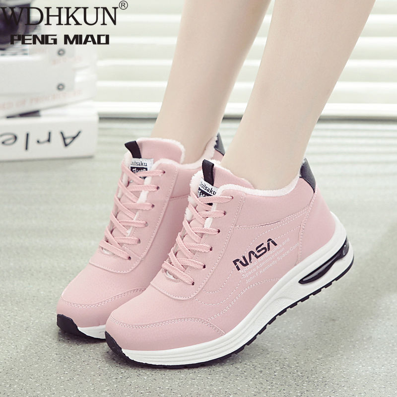 Woman Winter Ankle Vulcanized Shoes Warm Thick Plush Suede Snow Boots Female PU Leather Outdoor Sneaker Fur Shoes Women