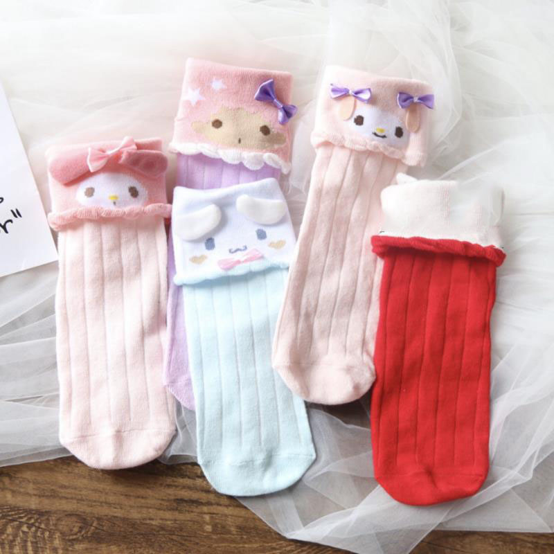 1Pair New Little Twin Stars My Melody Candy Colors Crimping Cotton Short Socks For Student Girls Cartoon Socks Plush Toys Gift