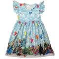 Boutique venda quente roupas para crianças castelo paraíso mouse balão menina vestido de verão