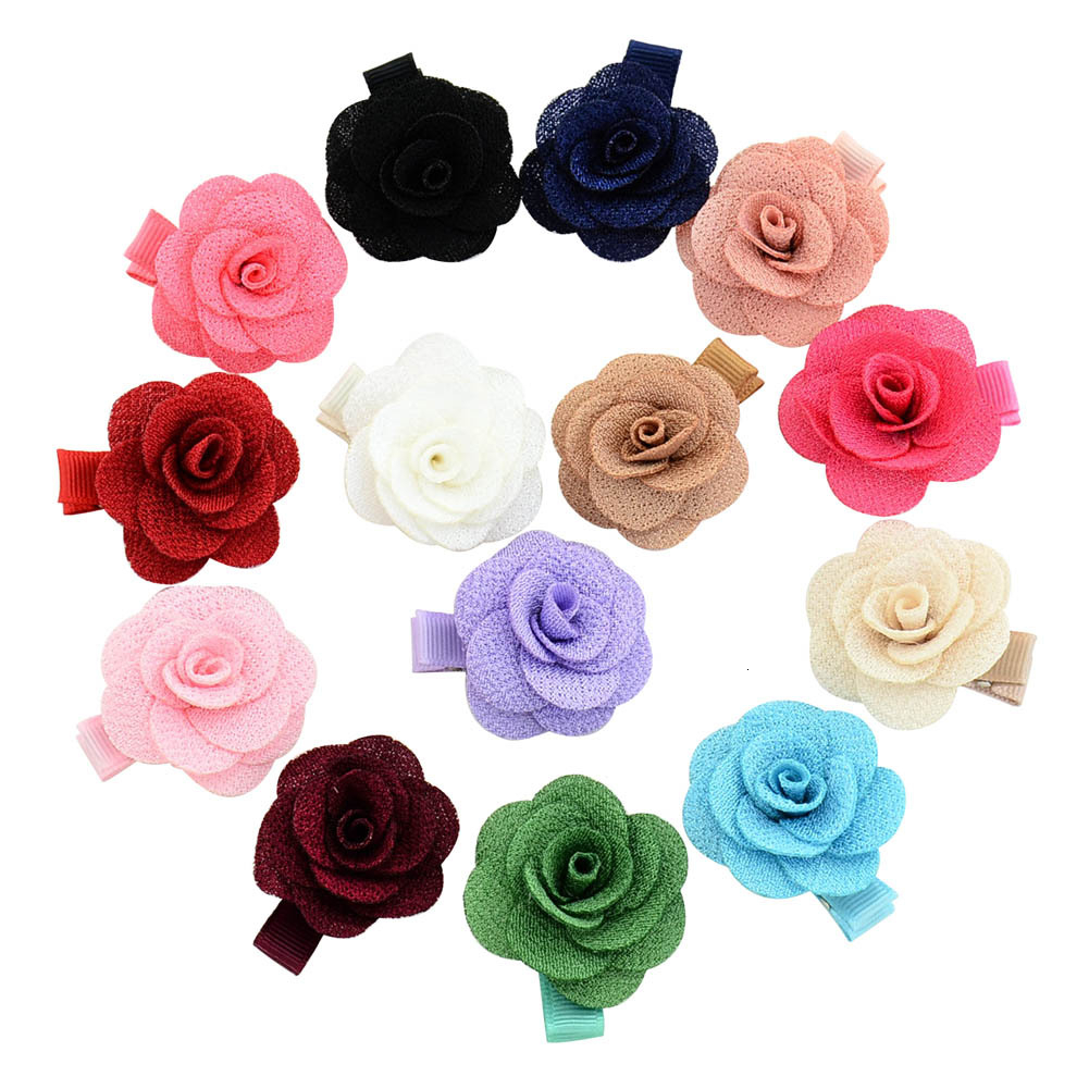 MAYA STEPAN 1 PCS Baby Girl Cartoon Cute Kawaii Candy Color Rose Infant Hair Accessory Newborn Gift Toddlers Clips Hairpins