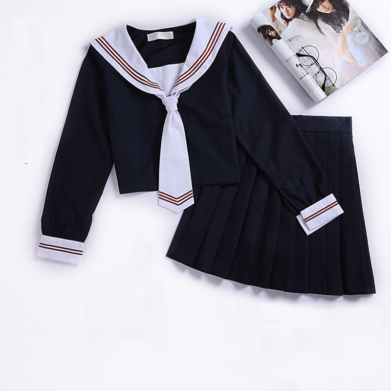 Jk School Uniform Orthodox College Wind Black Long-sleeved Female Cos Pleated Skirt Japanese Suit Sailor Suit Student Wear XXL