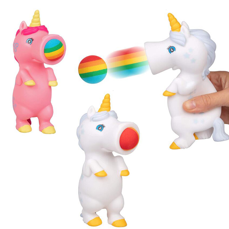 Squeeze Unicorn Popper Toy Dinosaur Shoot Foam Balls Stress Relief Fun Office Gadgets Autism Sensory Fidget Toys For Children