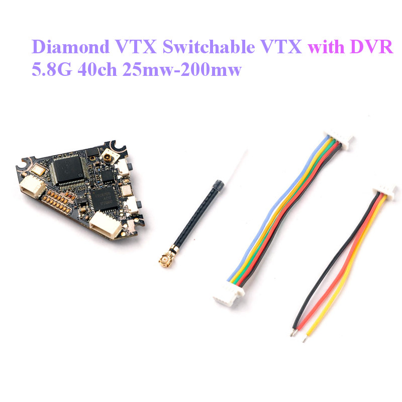 Happymodel diamante vtx 5.8g 40ch 25 mw-200 mw switchable vtx dvr para mobula7 reddevil trashcan rc fpv racing drone