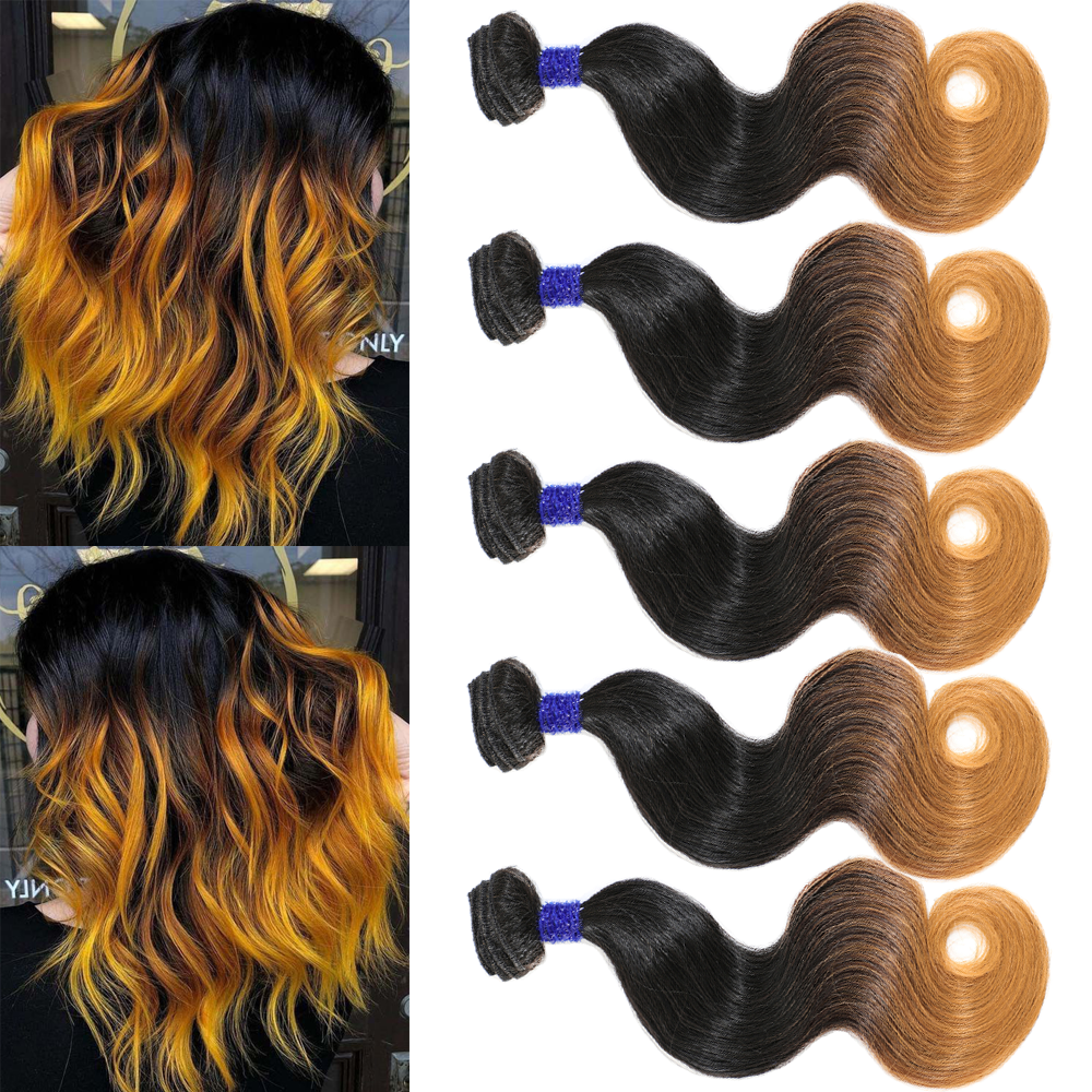 Live Beauty Synthetic Body Wave Hair Bundles 5Bundles 240G Synthtic Ombre Yellow T144 Hair Extension All In One Soft smooth hair