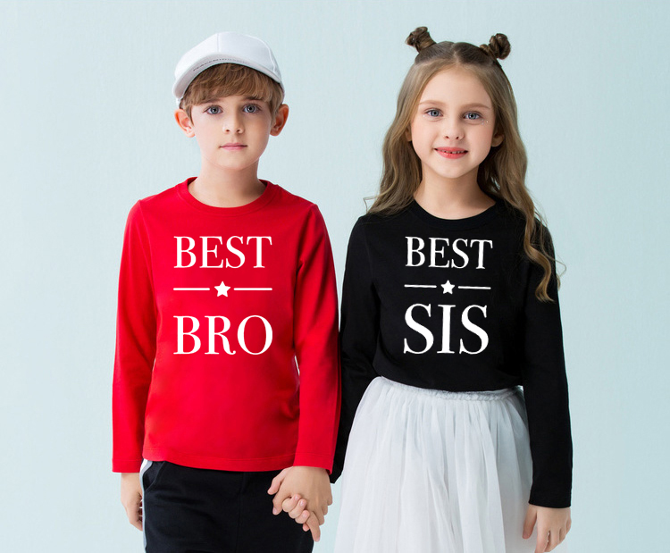 Best Bro Best Sis Matching Tops and Tees <font><b>Twinning</b></font> Brother and Sister Sibling Long Sleeve T-<font><b>shirt</b></font> Kids Funny Fashion T <font><b>Shirt</b></font> image