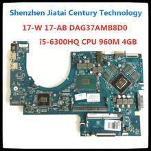 857391-601 para hp pavilion 17-ab 17t-ab 17-w placa-mãe do portátil 857391-501 857391-001 dag37amb8d0 i5-6300HQ cpu 960m 4gb gpu(China)