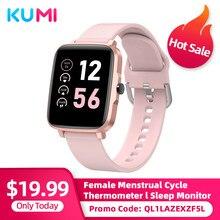 Kumi ku1 s relógio inteligente masculino feminino toque completo rastreador de fitness pressão arterial monitor freqüência cardíaca bt5.0 smartwatch para android ios