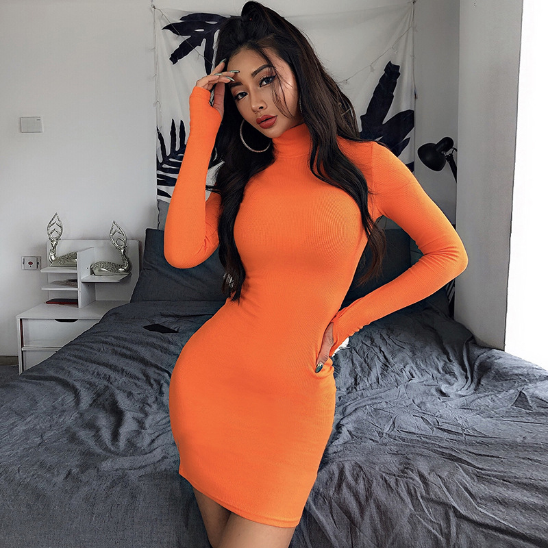Cryptographic Ribbed turtleneck long sleeve winter dress women 19 fashion vestidos trend color slim sexy bodycon dresses 28