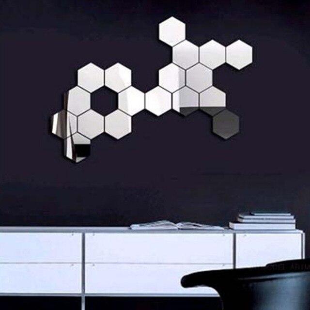 3D Hexagon Acrylic Mirror Wall Stickers DIY Art Wall Decor Stickers Living Room Mirrored Sticker Gold Home Decor 2