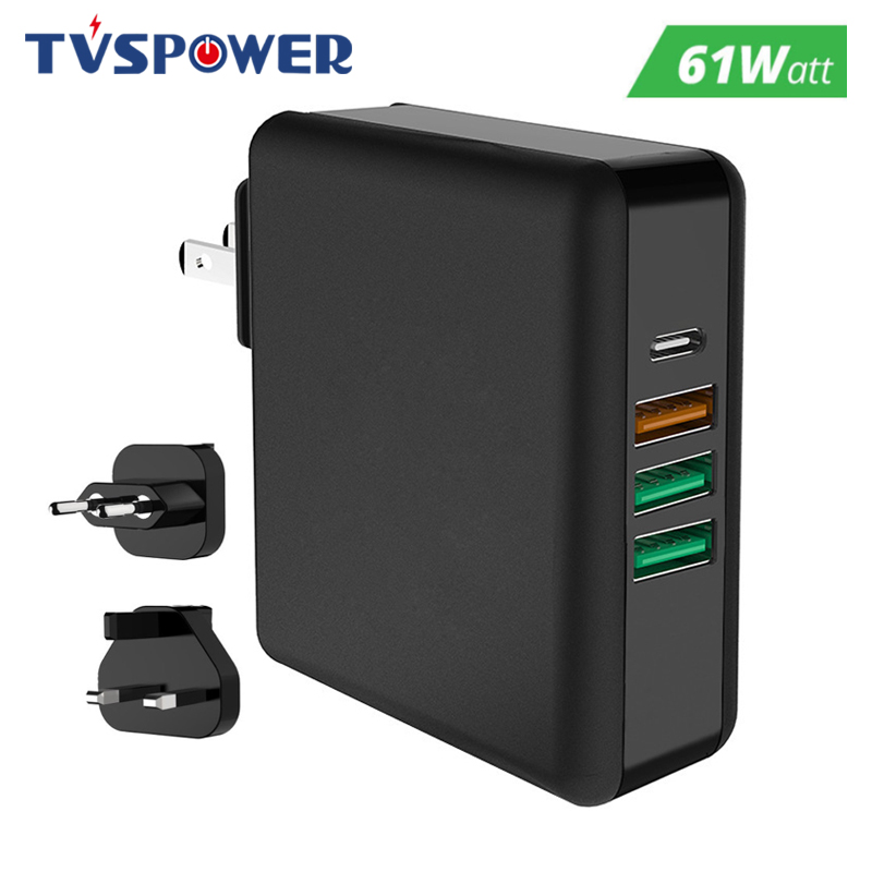 61W 45W PD Multiport Type C Power Charger AC DC QC3 0 Quick Charge Laptop Adapter