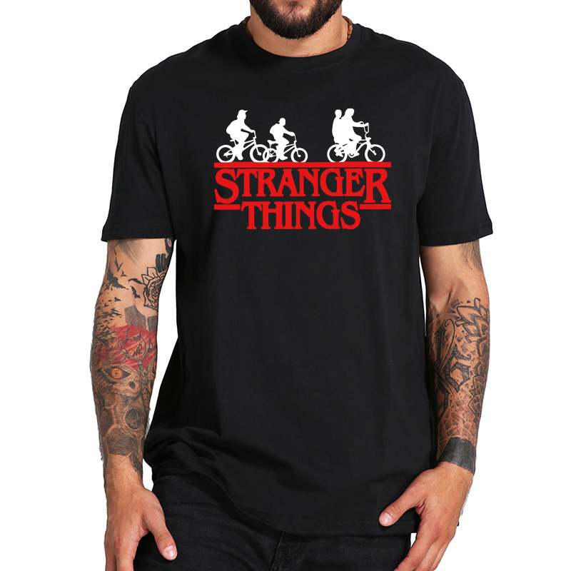 Stranger Things T Shirt TV Show Third Season Short Sleeve Men Black Original Tshirt New Arrival EU Size 100% Cotton Tops Tee