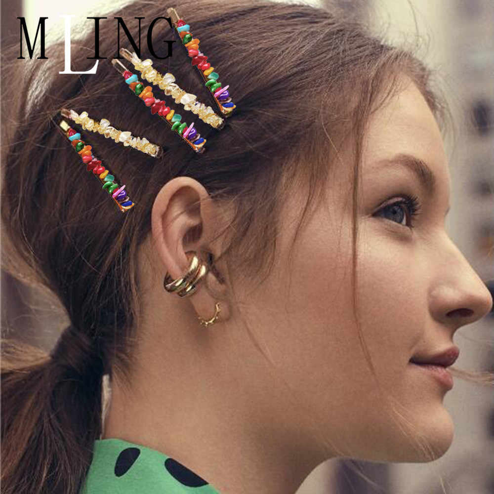 MLING 2019 Newest Colorful Beads Hair Clip Vintage Natural Stone Hair Clip For Women Girl