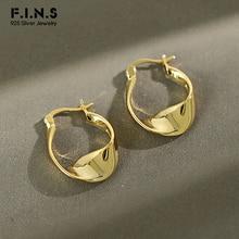 F.I.N.S Korean Sterling Silver Earrings Ins New Twist Glossy
