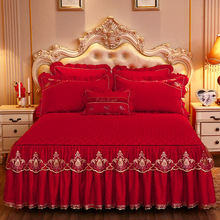 Lace Bed Sheet Set Home Queen Size Bed Sheets Set Cotton Warm Bed Skirt 1 3