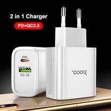 HOCO 18 Вт USB Type C PD зарядное устройство для iPhone 11 Pro XR XS Max Quick Charge 4,0 3,0 быстрое USB зарядное устройство для Samsung Xiaomi QC3.0 QC4.0