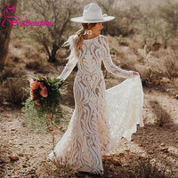 Unique Bride Bohemian Wedding Dress 2020 Full Lace Open Back Long Sleeves Boho Chic Modern Bridal Gowns