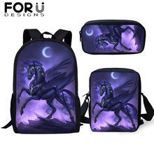 FORUDESIGNS 3Pcs/set School Bag Cool Unicorn 3D Print Student Backpack For Boys Girls Children Bookbags Travel Rucksack Gifts
