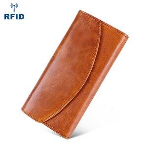 Image 4 - Luxe en cuir véritable sacs à main femme portefeuille longue pochette sacs femmes portefeuilles avec coque de téléphone femme RfidCard titulaire Carteira