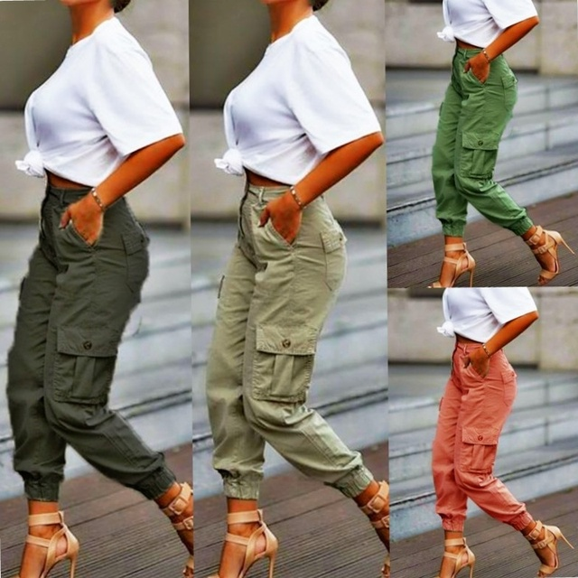 Yskkt Cargo Pants Women High Waist Spring Autumn Pocket Slim Sweatpants Fashion Streetwear Long Overalls Pant Elastics Trousers 1