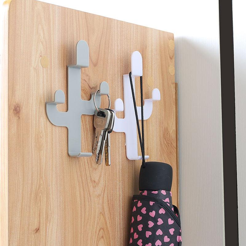 Cactus-shaped Hook Self-adhesive Clothing Display Rack Key Chain Wall Hook Coat Hat Rack Hat Booth Decoration Display Rack