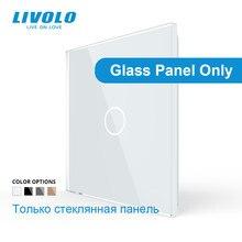 Livolo luxe verre blanc perle cristal, norme ue, panneau de verre seulement, panneau 1Gang, pour Base d'interrupteur