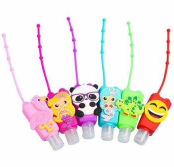 60pcs/lot Cartoon Hand Sanitizers Purell Gel 30ml Portable Silicone Cover Sanitary Tools Wash Hands Free HA1864