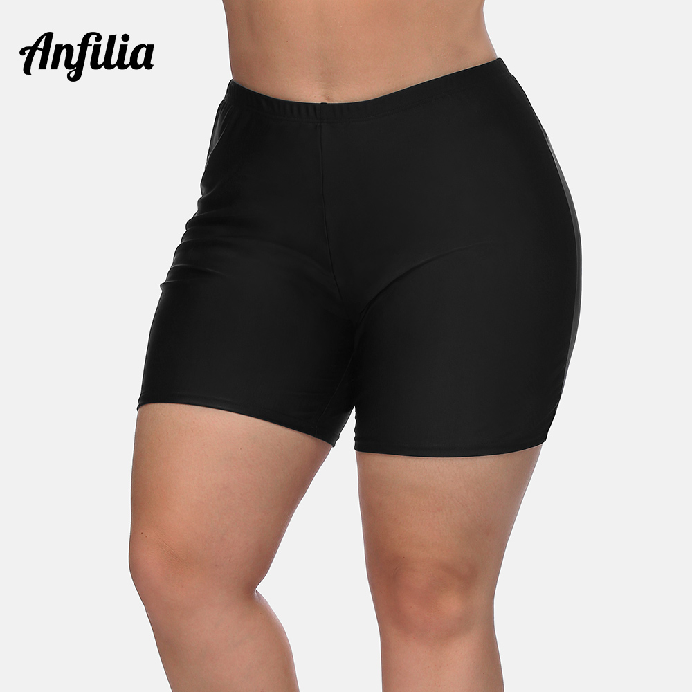 Anfilia Women High Waist Plus Size Swimming Shorts Ladies Plus Size Bikini Bottom Swimwear Briefs Boardshort Swimming Trunks