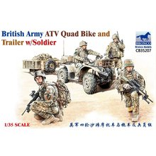 BRONCO CB35207 1/35 British Army ATV Quad Bike and Trailer w/Sodier   Scale Model Kit