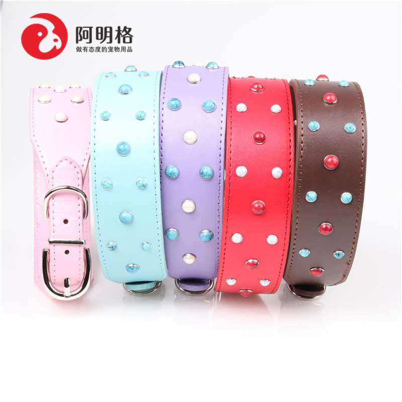 Jin Jie Te New Style Large Dogs Neck Ring Gemstone Pet Collar Pu