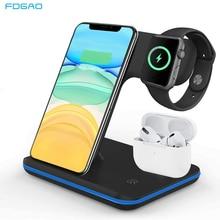 FDGAO 3 in 1 15W Schnelle Qi Drahtlose Ladegerät für Iphone 12 11 X XS XR 8 Ladegerät Dock stehen Für Airpods Pro Apple Uhr SE 6 5 4 3 2