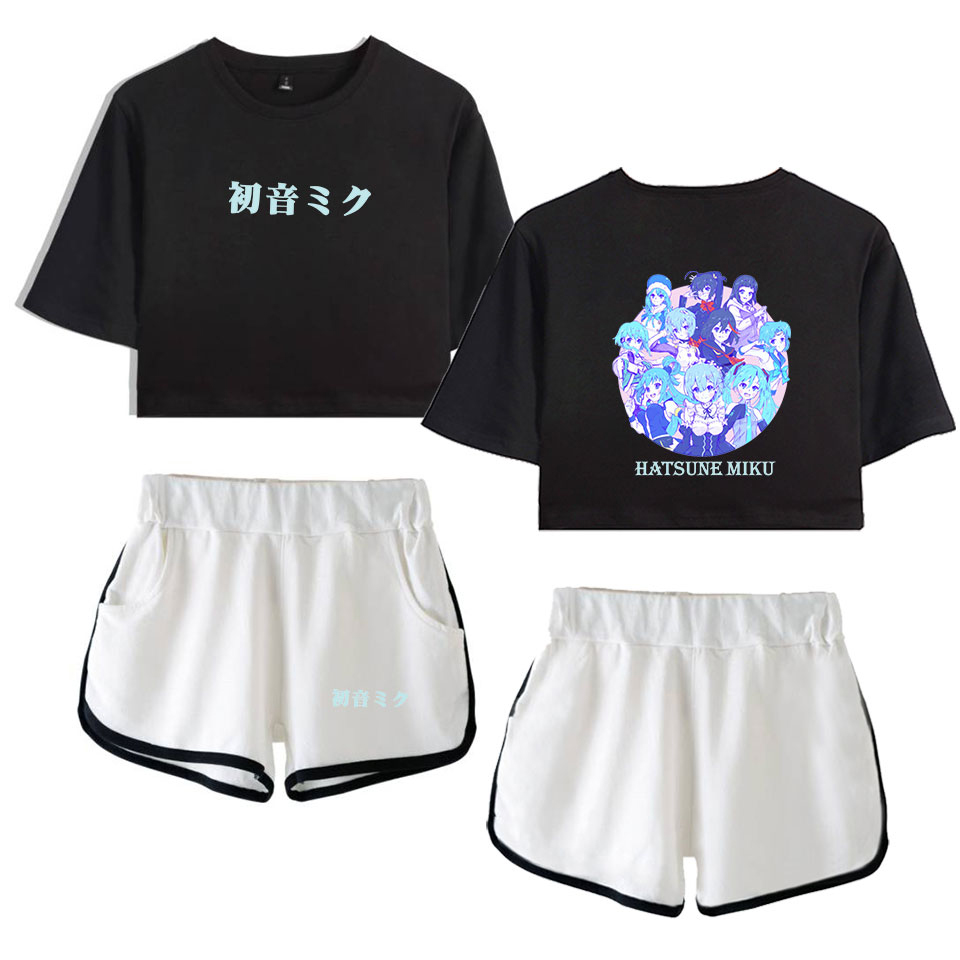 2019 Hatsune Miku Two Piece Set New Shorts Women Casual Shorts Outerwear Femme Contrast Summer Soft Elastic Waist Shorts