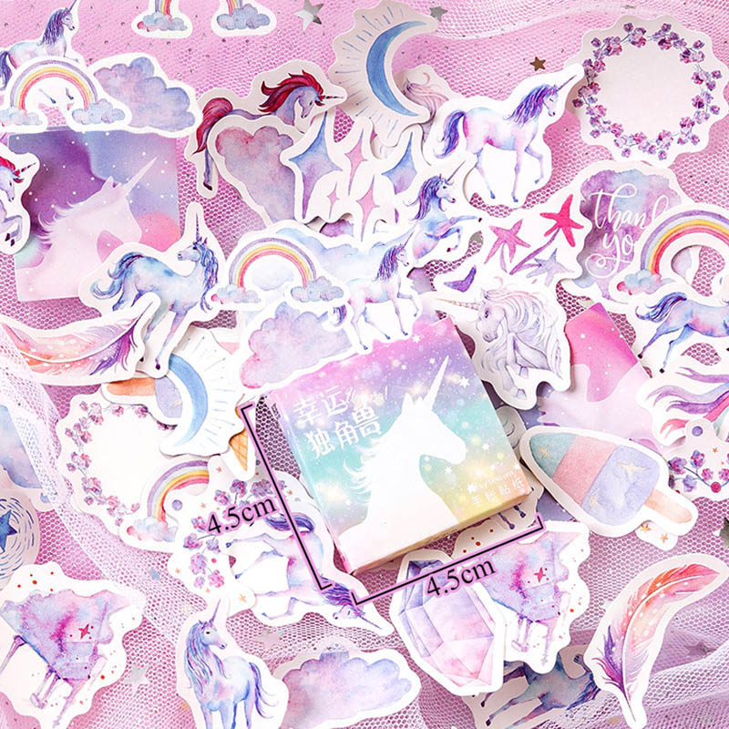 46Pcs/Box Cute Unicorn Stickers Kawaii Stationery Stickers Adhesive Stickers For Girls Gifts DIY Diary Scrapbooking Photo Ablums