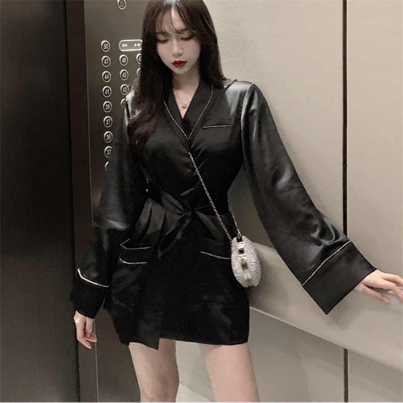 FANIECES элегантное женское платье трапециевидной формы из сатина с бриллиантами офисные женские платья с длинными рукавами и пуговицами однотонные черные повязки бандаж Лето Осень рубашка платье