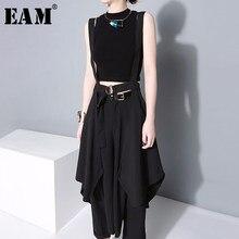 EAM-falda de medio cuerpo con tirantes irregulares para mujer, falda negra de cintura alta, a la moda, combina con todo, primavera y otoño, JY932, 2021