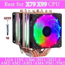 Ventilador de enfriamiento RGB para CPU, 6 tubos de calor, 3 pines, 4 pines, 2 ventiladores para Intel 1150, 1155, 1156, 1366, X79, X99, AM2/AM3/AM4, ventilado