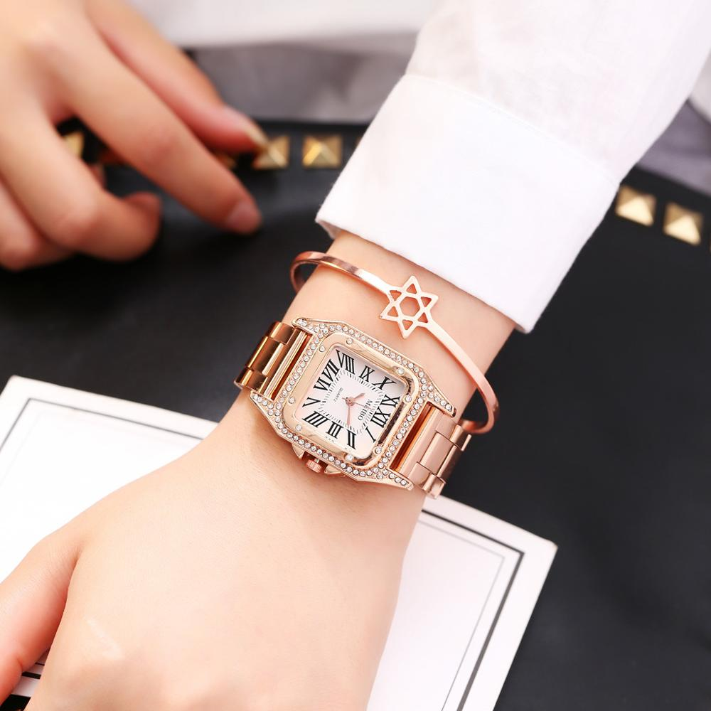 Fashion Design Inlaid Rhinestone Digital Stainless Steel Minimalist Square Dial With Ladies Quartz  Casual Simple Watch  #D