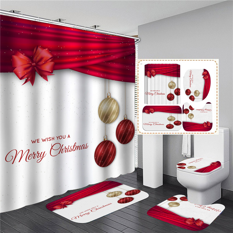 Christmas Red Bow Knot Shower Curtain Set Carpet Anti-slip Mat Bathroom Bathing Screen Waterproof Toilet Partition Home Decor