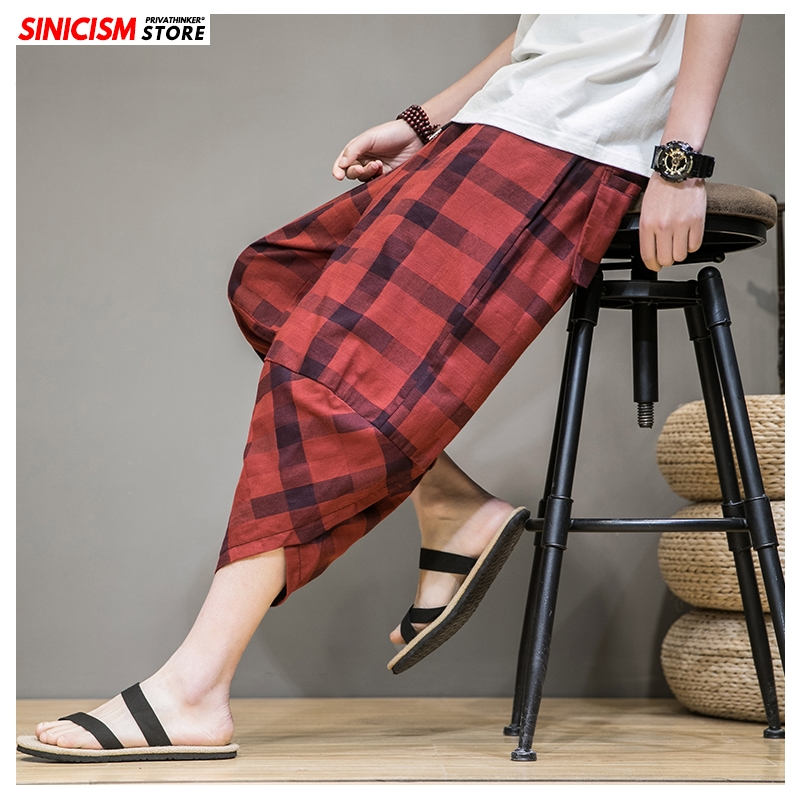 Sinicism Store Men Plaid Linen Harem Pants Mens Breathable 2020 Chinese Style Loose Joggers Male Summer Pants Oversize Bottoms