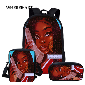 WHEREISART School Bag for Teenager Girls Boys Arts African Girl Printed Children Kids Backpack Classic Elementary Book Bags girl printed medium paper bag