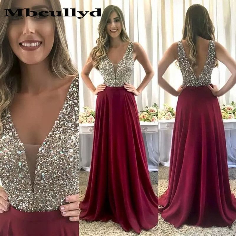 Mbcullyd Sparkling Crystal Long   Prom     Dresses   For Women 2019 Deep V Neck A Line Evening   Dress   Formal Party Gown robe de soiree