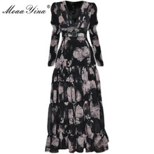 Dress Spring Vacation-Dresses Long-Sleeve Floral-Print Moaayina Ruched V-Neck