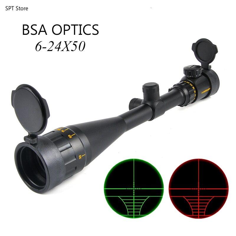 BSA OPTICS 6-24x50 AOE Rifle óptico alcance largo Ojo de alivio Rifle de alcance para francotirador Gear miras de caza para Airsoft Rifle UNIKIT FTTH ESC250D SC APC /UPC fibra óptica monomodo nuevo modelo conector rápido óptico