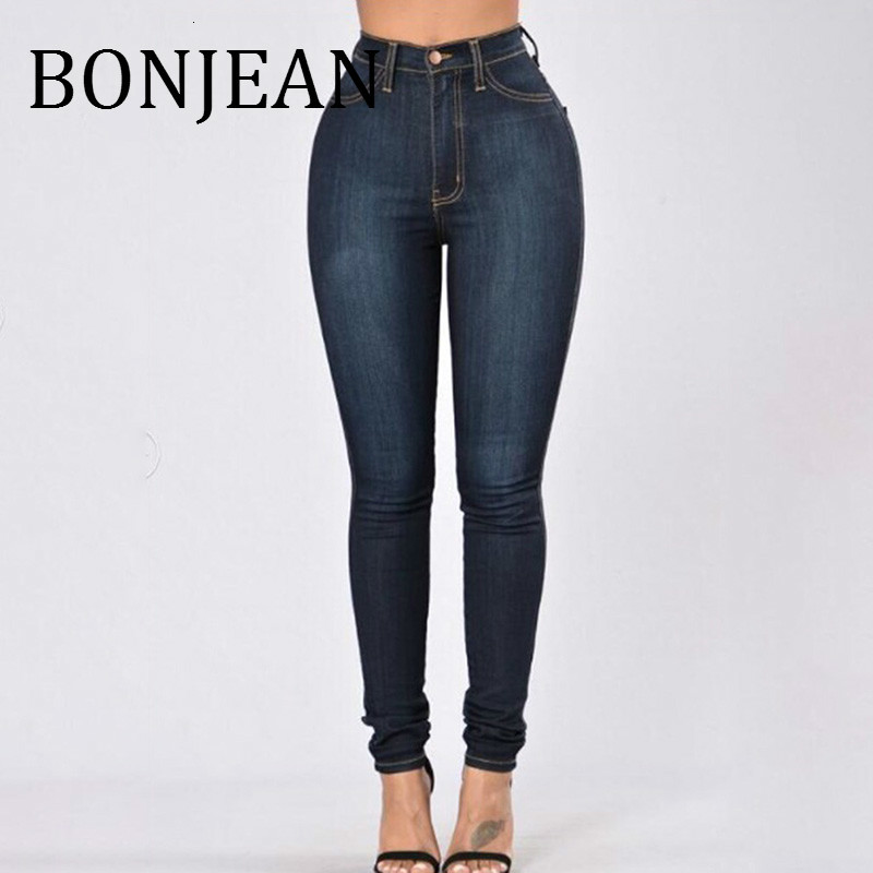 BONJEAN White Elastic Skinny Stretch Jeans Plus Size High Waist Jeans Washed Casual Denim Pencil Pants Women Jeans BJ1878