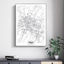 Cuadro en lienzo impreso con Mapa de Ciudad famosa de Italia y Pisa, imágenes artísticas de pared, carteles e impresiones en blanco y negro para decoración del hogar y sala de estar