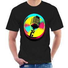 Steampunk Colors & Records T Shirt 2018 Men Black T-shirt Old Mike Karaoke Band Tops Tees Vintage Style Hip Hop Clothing @079494