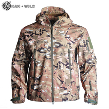 HAN WILD Camo Hiking Jacket Windbreakers Army Tactical Clothing Fleece Soft Jacket Waterproof Tactical Bomber Jackets S-4XL